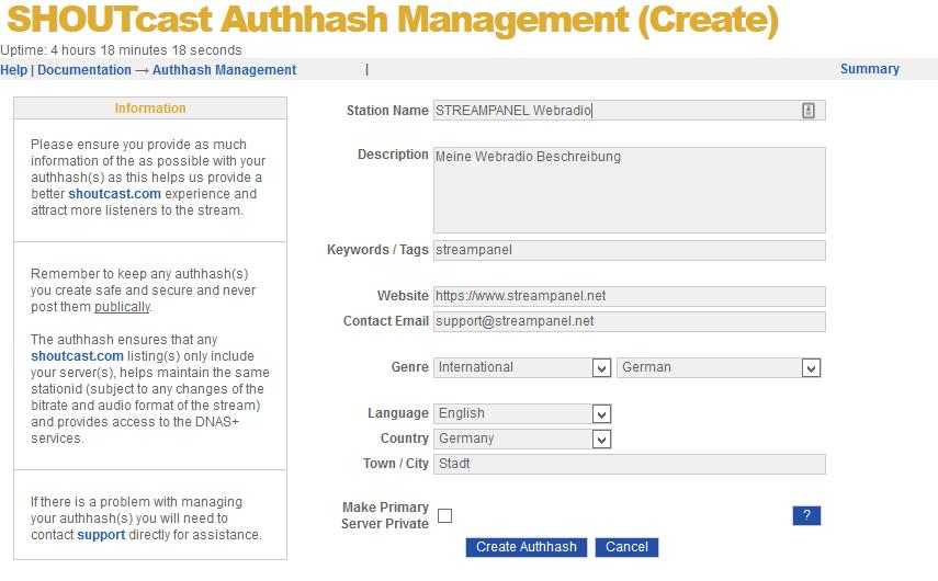 Register SHOUTcast V2 server on the SHOUTcast.com platform (Before SHOUTcast v2.6)