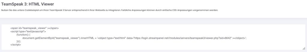 STREAMPANEL: Teamspeak 3 Server